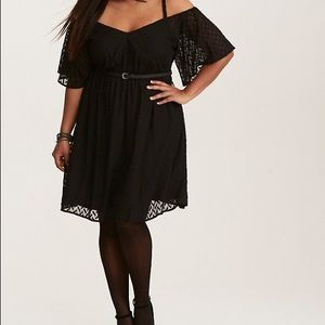 Torrid Textured Off The Shoulders Dress Black